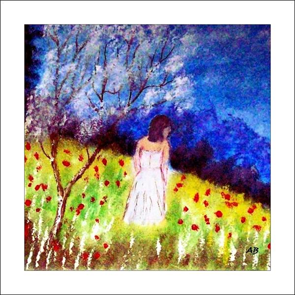 Frühlingslandschaft-Ölmalerei-Landschaft-Bäume-Wiese-Blumen-Frau-Kleid-Baum-Blüten-Büsche-Berge-Ölbild-Ölgemälde