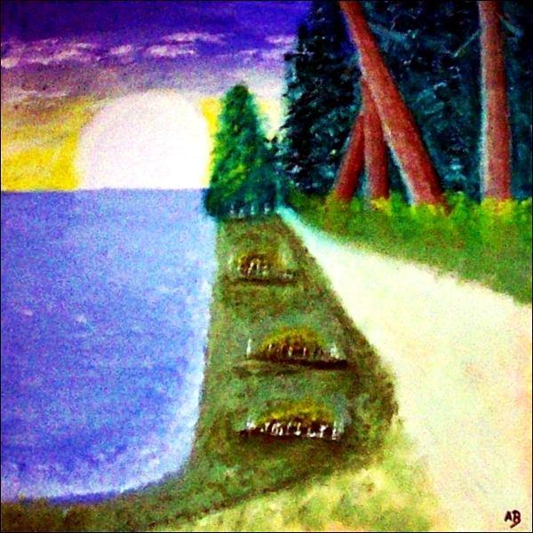 Landschaft-Meer-Ölmalerei-Weg-Wald Bäume-Baum-Landschaftsbild-Wiese-Blumen-Landschaftsmalerei-Ölbild-Ölgemälde