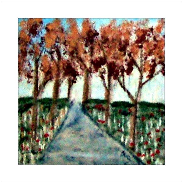 Herbstlandschaft-Ölmalerei-Bäume-Wiese-BlumenWald-Landschaft-Weg-Büsche-Ölbild-Ölgemälde