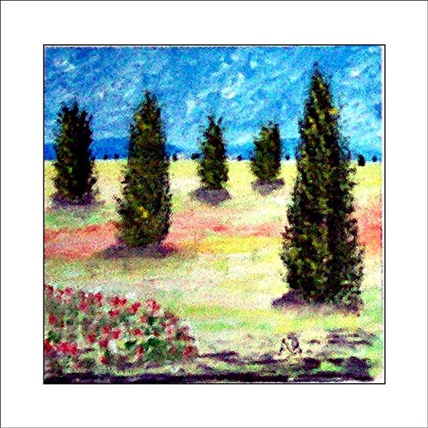 Landschaft in Öl mit blauem Himmel und Baumreihe. Im Vordergrund: gelbes Feld, Bäume und rote Blumen