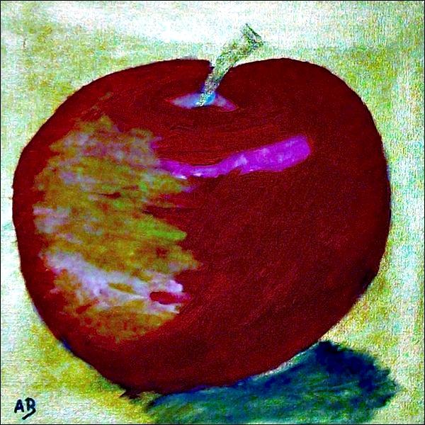 Roter Apfel-Ölmalerei-Goldener Hintergrund-Stillleben-Moderne Malerei-Abstrakt-Ölbild-Ölgemälde