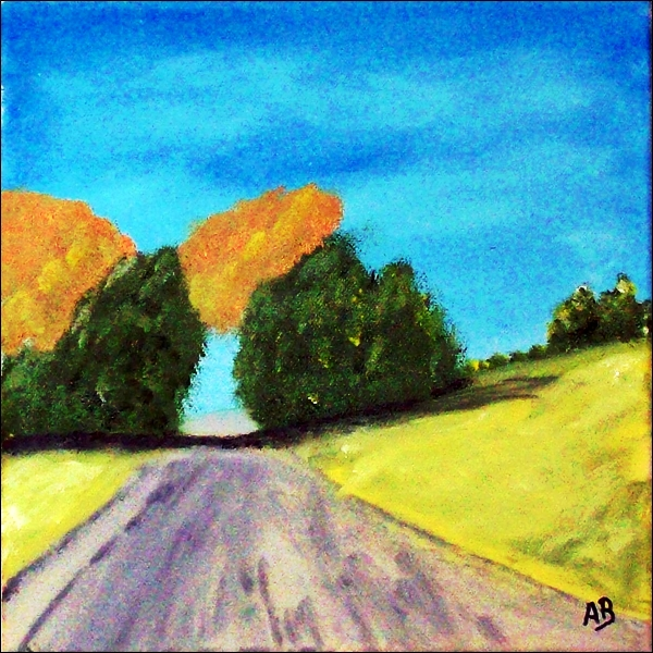 Landschaft-Felder-Ölmalerei-Feldweg-Hügel-Bäume-Wald-Himmel-Ölbild-Landschaftsmalerei-Ölgemälde