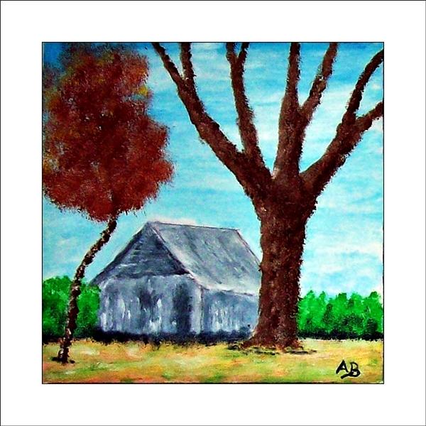 Landschaft mit blauem Himmel, Hecke, grauer Hütte,grün, gelbeWiese und zwei Bäumen. Ölgemälde.