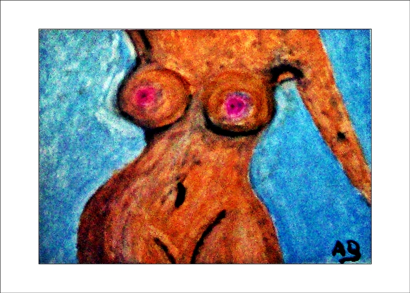 Frauenakt, Hintergrund ist blau, Torso, Vorderansicht, Arme, BrüsteB,Bauchnabel, Oberschenkel