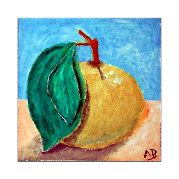Stillleben in Öl mit blau, gelben Hintergrund. Gelb, grüner Apfel mit Stil und Blatt im Vordergrund