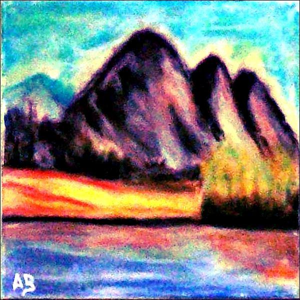 Berglandschaft-Pastellmalerei-Berge-Bäume-Wiese-Büsche-Felsen-Landschaft-See-Pastellbild-Pastellgemälde