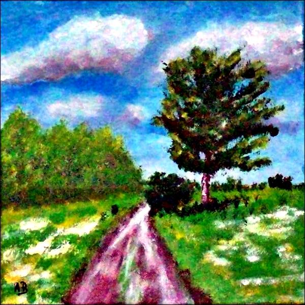 Acrylmalerei-Bäume-Wald--Baum-Feld-Wiese-Blumen-Weg-Himmel-Wolken-Acrylbild-Landschaft-Acrylgemälde-Landschaftsmalerei