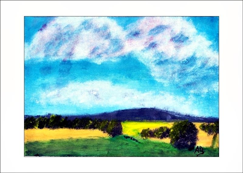 Hügellandschaft mit Feldern, Ölmalerei