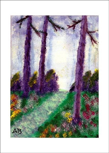Waldlandschaft mit Weg, Büschen Bäumen, Wiese, Blumen und Nebel im Hintergrund