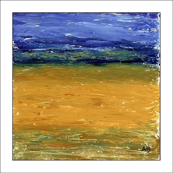 Rapsfeld mit hell- dunkelblauem, gelb und weißem Himmel. Rapsfeld, gelb, Ockergelg, grün blau im Vordergrund. Spachtel Ölgemälde.