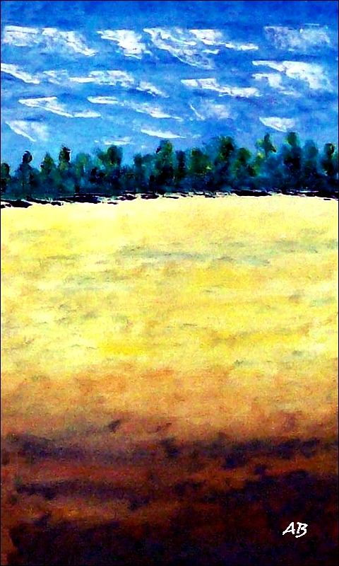 Rapsfeld-Ölmalerei-Landschaft-Wald-Bäume-Feld-Raps-Ölbild-Ölgemälde