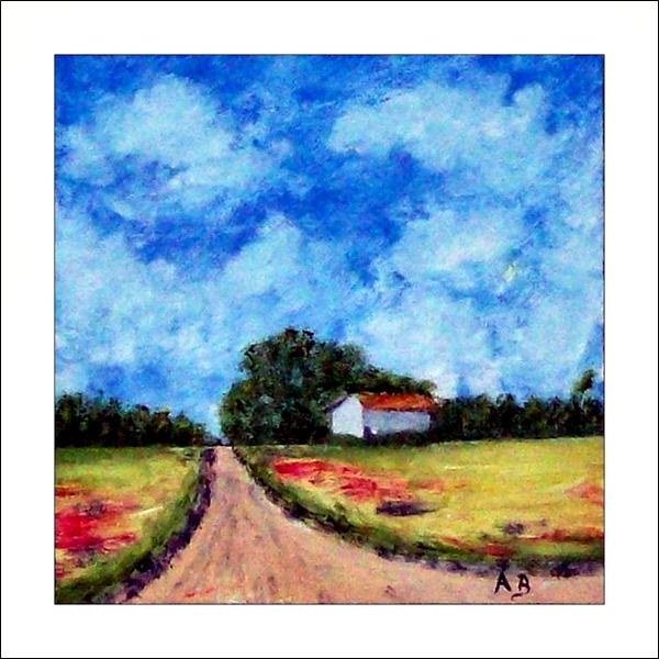 Landschaft-Felder-Sommer-Ölgemälde-Wald-BäumeHaus-Weg-Ölmalerei-Ölbild