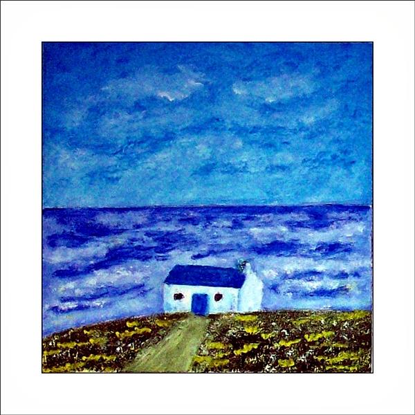 Küstenlandschaft mit blauem Himmel, Meer mit Wellenund Gischt. Grüne Wiese mit Blumen, Weg und Fischerhütte im Vordergrund. Ölgemälde.