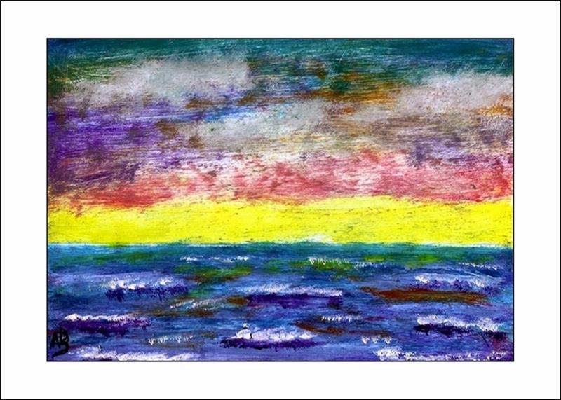 Sonnenuntergang am Meer, Ölmalerei