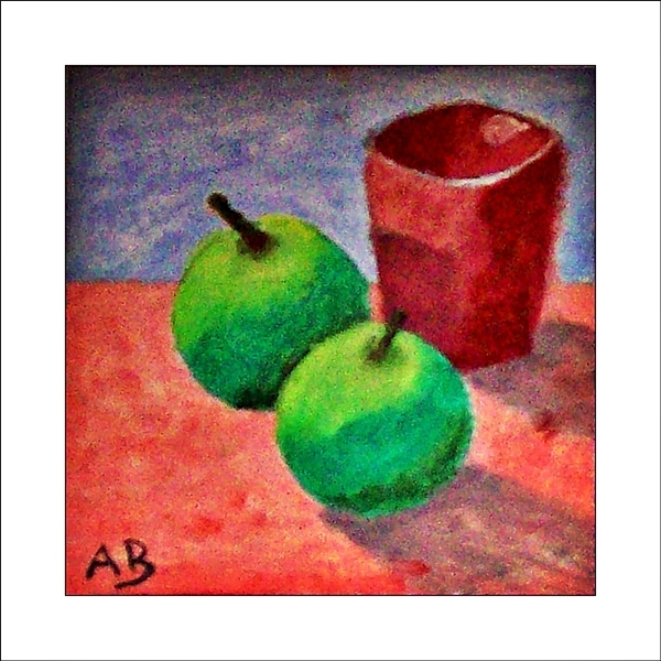 Stillleben mit braunem Becher und Grün, gelben Äpfeln. Ölgemälde.