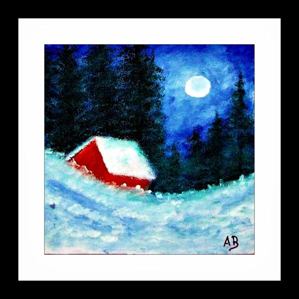 Landschaft-Ölgemälde-Winter-Nacht-Vollmond-Bäume-Fichten-Kiefern-Wald-Schnee-Waldhütte-Hügel-Ölmalerei