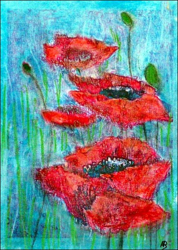 Mohnblumen, Stillleben, Pastellgemälde, moderne Malerei, Blumenbild, Pastellmalerei, Pastellbild, Mohn