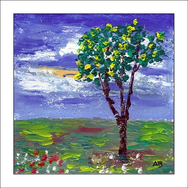 Sommerlandschaft mit Schleierwolken und blauem Himmel, Wiese, Blumen und Baum. Spachtel Ölgemälde.