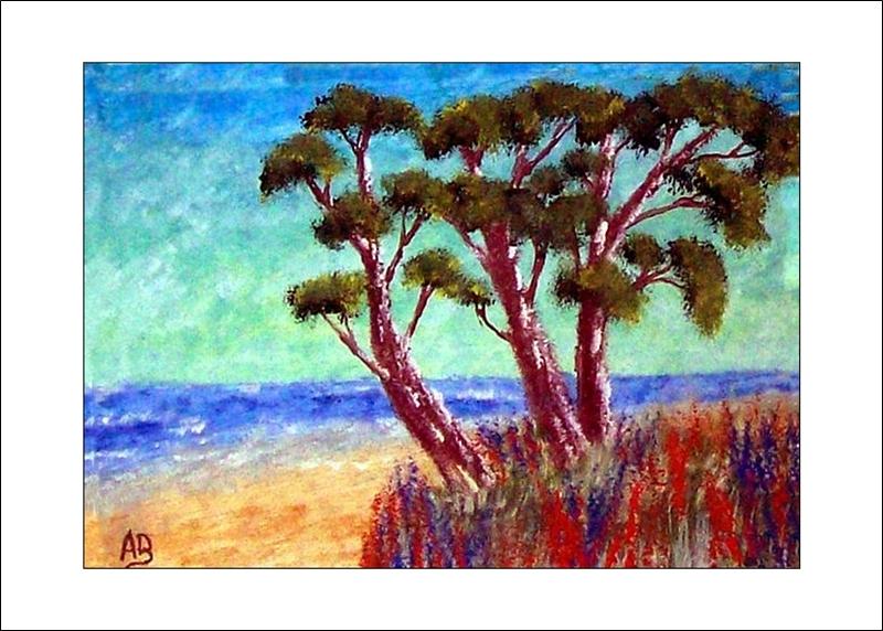 Nordseeküste mit Bäumen, Ölmalerei