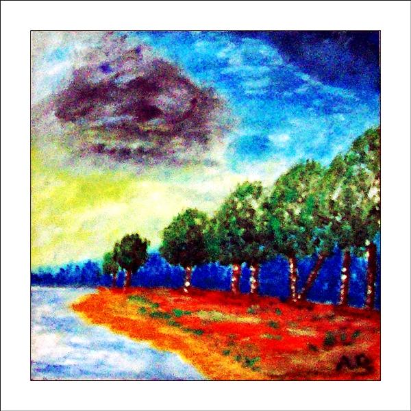Landschaft in Öl, Hintergrund: Abendhimmel und Wald, VVordergrund: rechts Herbstwiese mit Bäumen, links der See