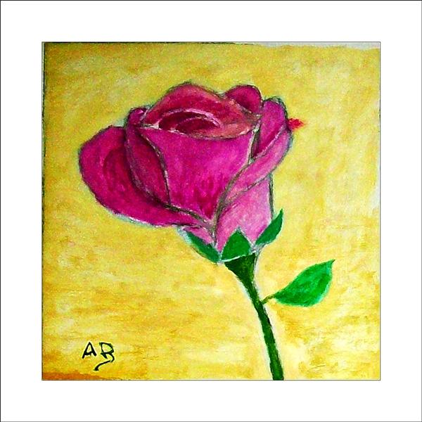 Rote Rose, Stiel, Blatt, Stillleben, Ölgemälde, Ölmalerei, Blumenbild