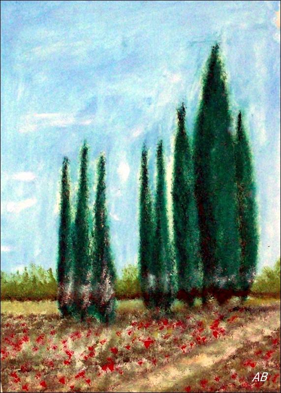 Landschaft mit Zypressen, Ölgemälde, Landschaftsbild, Bäume, Wald, Zypressen,Felder,Wiese, Blumen, Feldweg, Ölmalerei, Ölbild