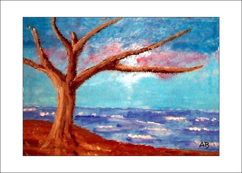 Küstenlandschaft mit Herbstbaum, Ölmalerei