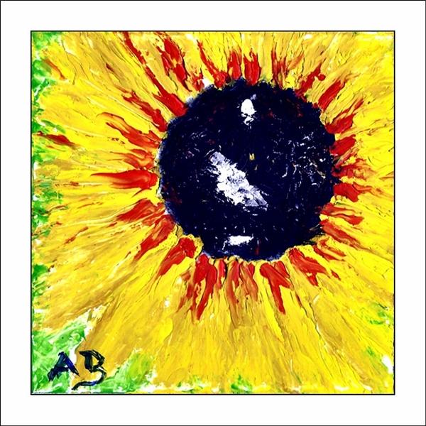 Sonnenblumenblüte-Spachtel Ölgemälde