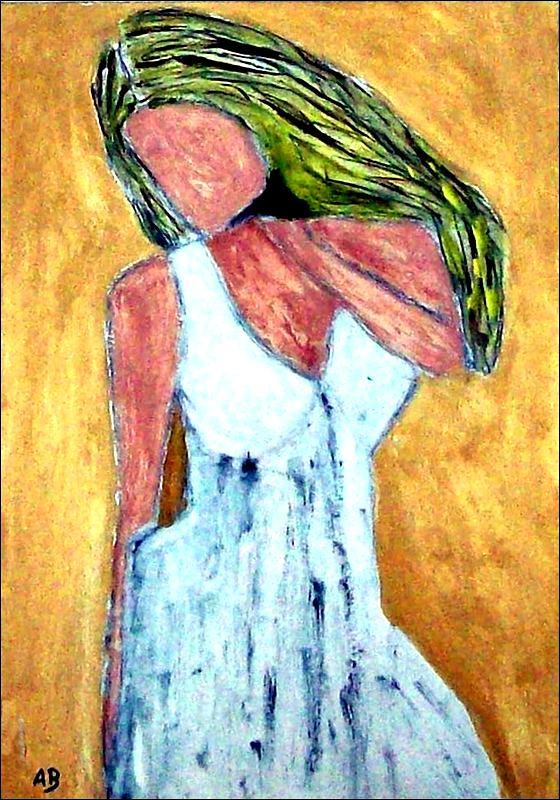 Frau im weissen Kleid-Ölmalerei-Moderne Kunst-Frau-Figural-Mädchen-Feminal-weisses Kleid-Blond-Ölbild-Ölgemälde