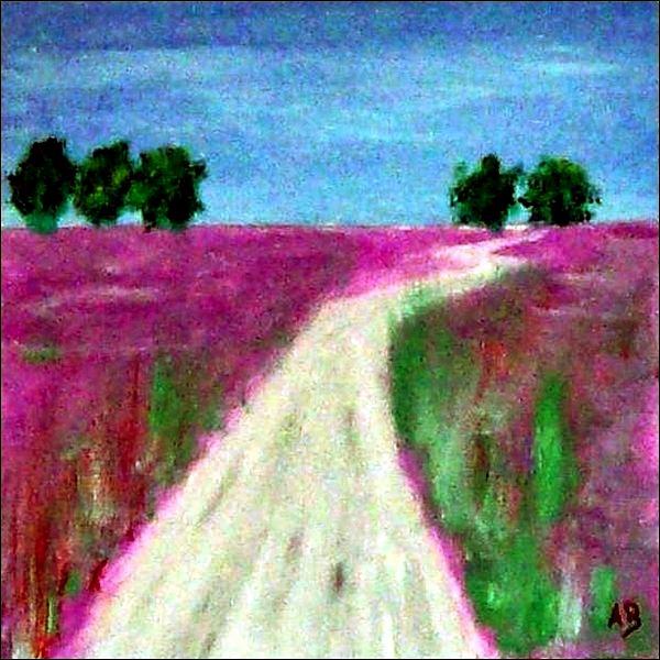 Feldlandschaft-Ölmalerei-Landschaft-Bäume-Felder-Lila-Weg-Gras-Smmer-Moderne Malerei-Ölbild-Ölgemälde