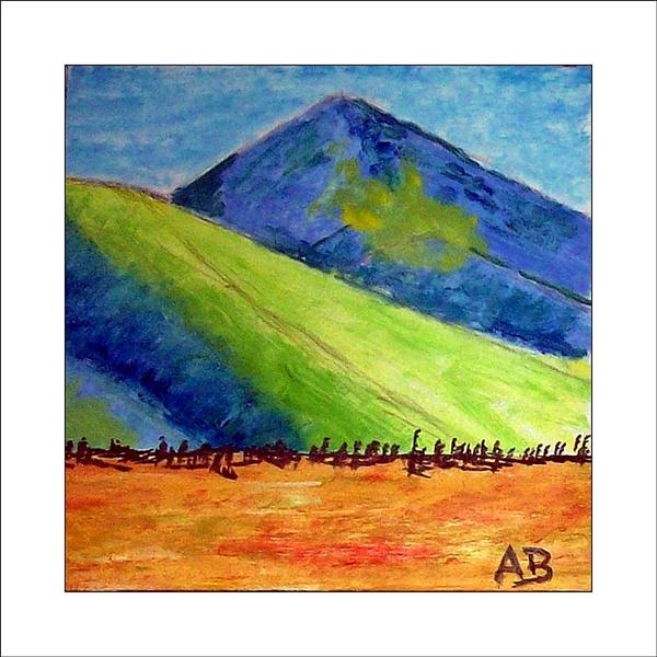 Hügellandschaft-Weinland Kalifornien, grün, gelb, blaue Hügel und gelb, oranges Feld im Vordergrund. Ölgemälde.
