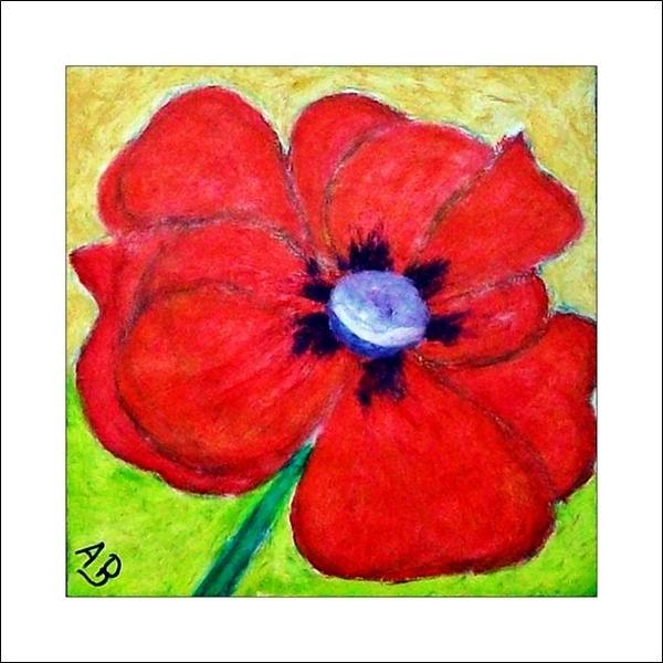 Mohnblume-Stillleben-Rot-Blume-Ölbild-Moderne Malerei-Ölgemälge-Ölmalerei