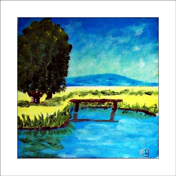 Hügellandschaft mit blauem Himmel und Hügel in der Ferne. Weites Rapsfeld mit Baum, Steg und Teich im Vordergrund. Ölgemälde.