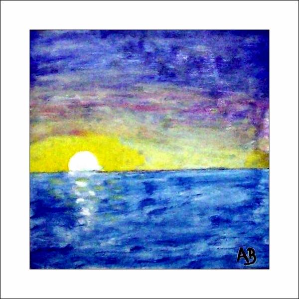 Meerlandschaft-Ölmalerei-Sonnenuntergang-Meer-Sonne-Ozean-Wellen-Ölbild-Ölgemälde