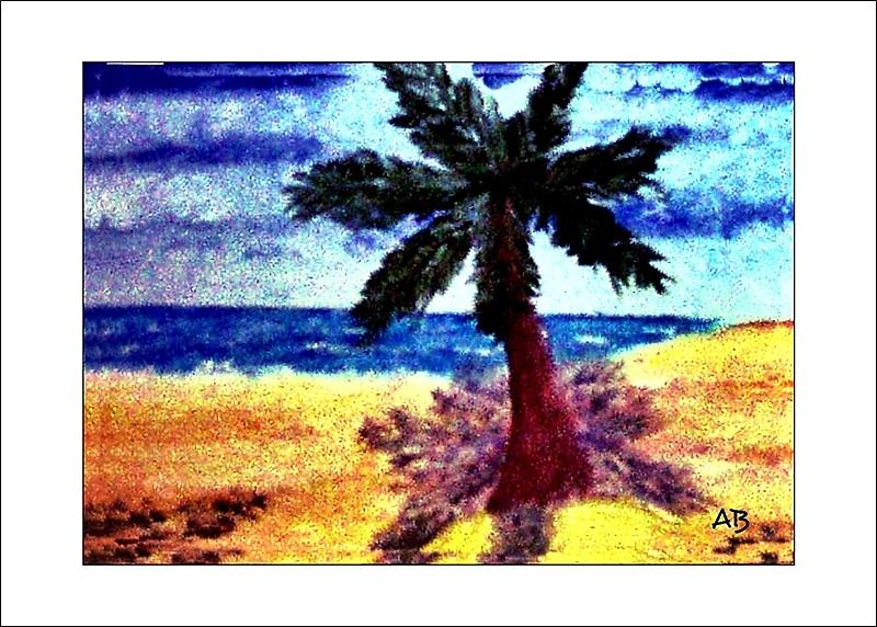 Eine Palme am Strand, Ölmalerei