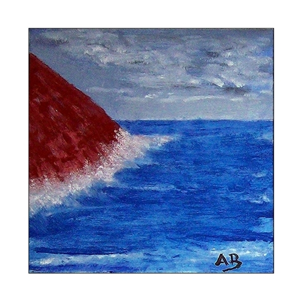Küstenlandschaft mit Felsen blauem Meer, Wellen und Gischt. Ölgemälde.