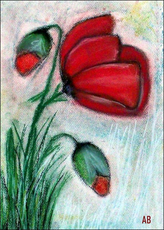 Stillleben mit Mohnblumen, Pastellmalerei, Blumen, Mohn, Blüten, Knospen,Pastellgemälde, Pastellbild
