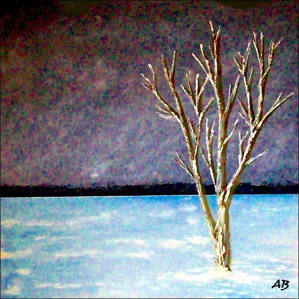 Winterlandschaft-Ölmalerei-Nacht-Himmel-Bäume-Schnee-Baum-Landschaft-Ölbild-Ölgemälde