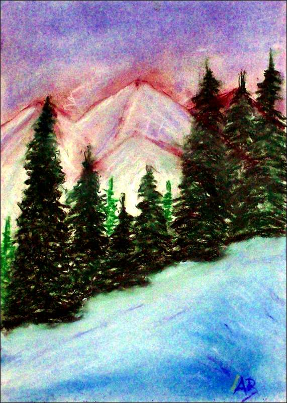 Winter in den Bergen, Pastellgemälde, Berge, Winter, Schnee, Bäume, Kiefer, Fichten, Hügel, Blauer Himmel, Wolken, Winterlandschaft, Pastellmalerei