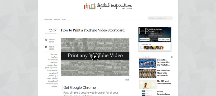 YouTube動画をストーリーボードに変換する「The Print YouTube bookmarklet」