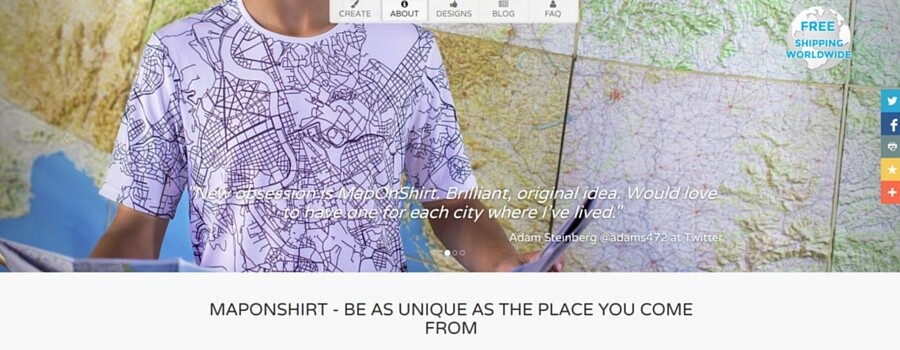 MapOnShirtウェブサイト画像