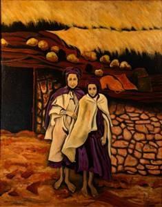 """Filles Kabyles:peinture à l'""""huile sur toile de lin,81cmX65cm année 1979"""