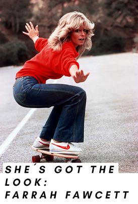 Look von Farrah Fawcett auf dem Skateboard