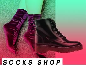 "Socken und Schuhe, Bildaufschrift: ""Socks Shop"""