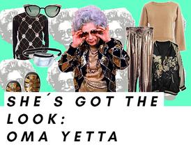 """Oma Yetta aus """"Die Nanny"""" und ihr glitzernedes Outfit"""