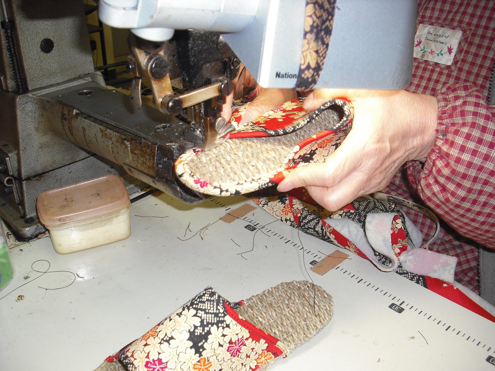 甲の縫い付け