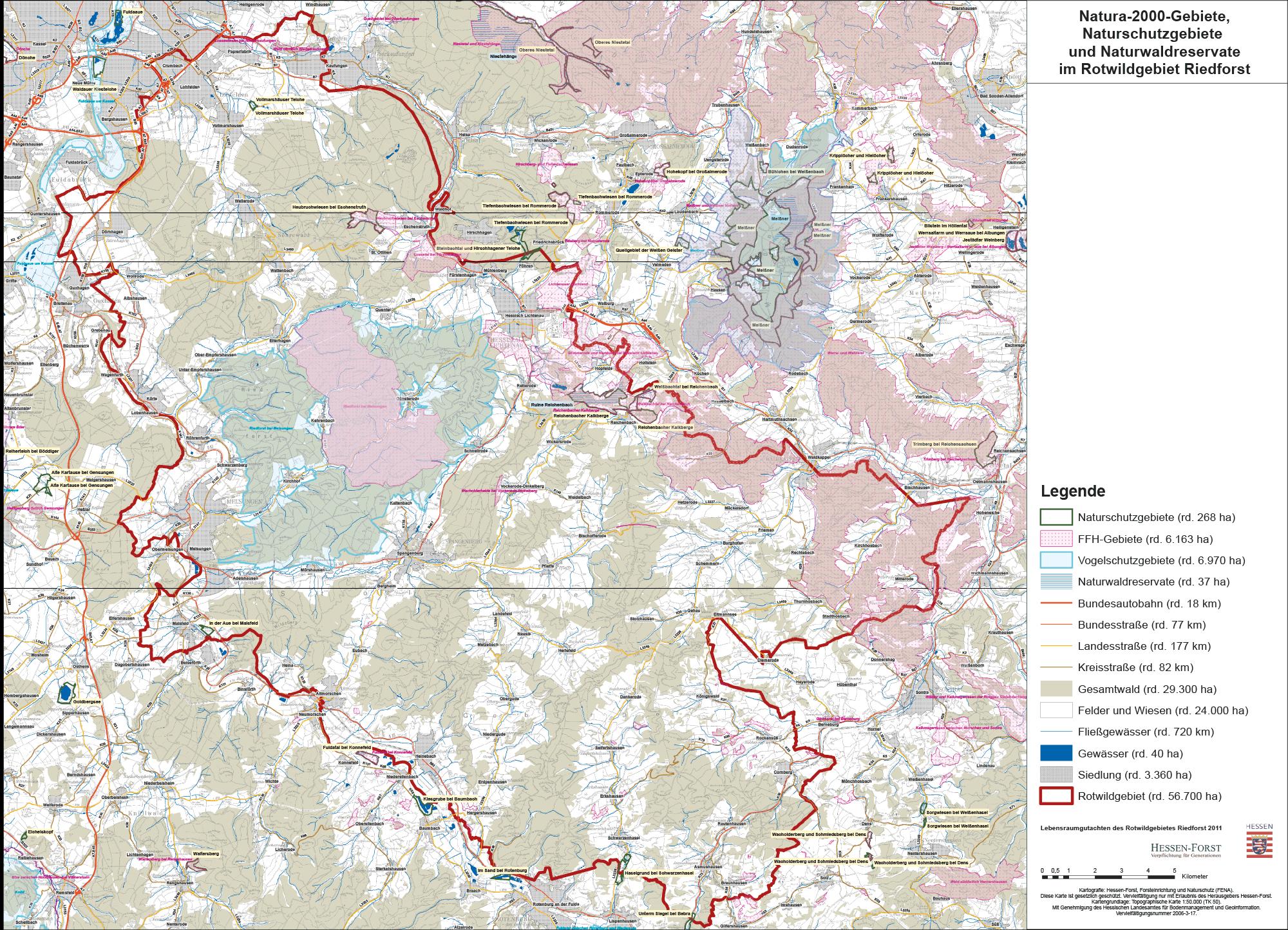 Natura-2000-Gebiete, Naturschutzgebiete und Naturwaldreservate im Rotwildgebiet Riedforst (2011)
