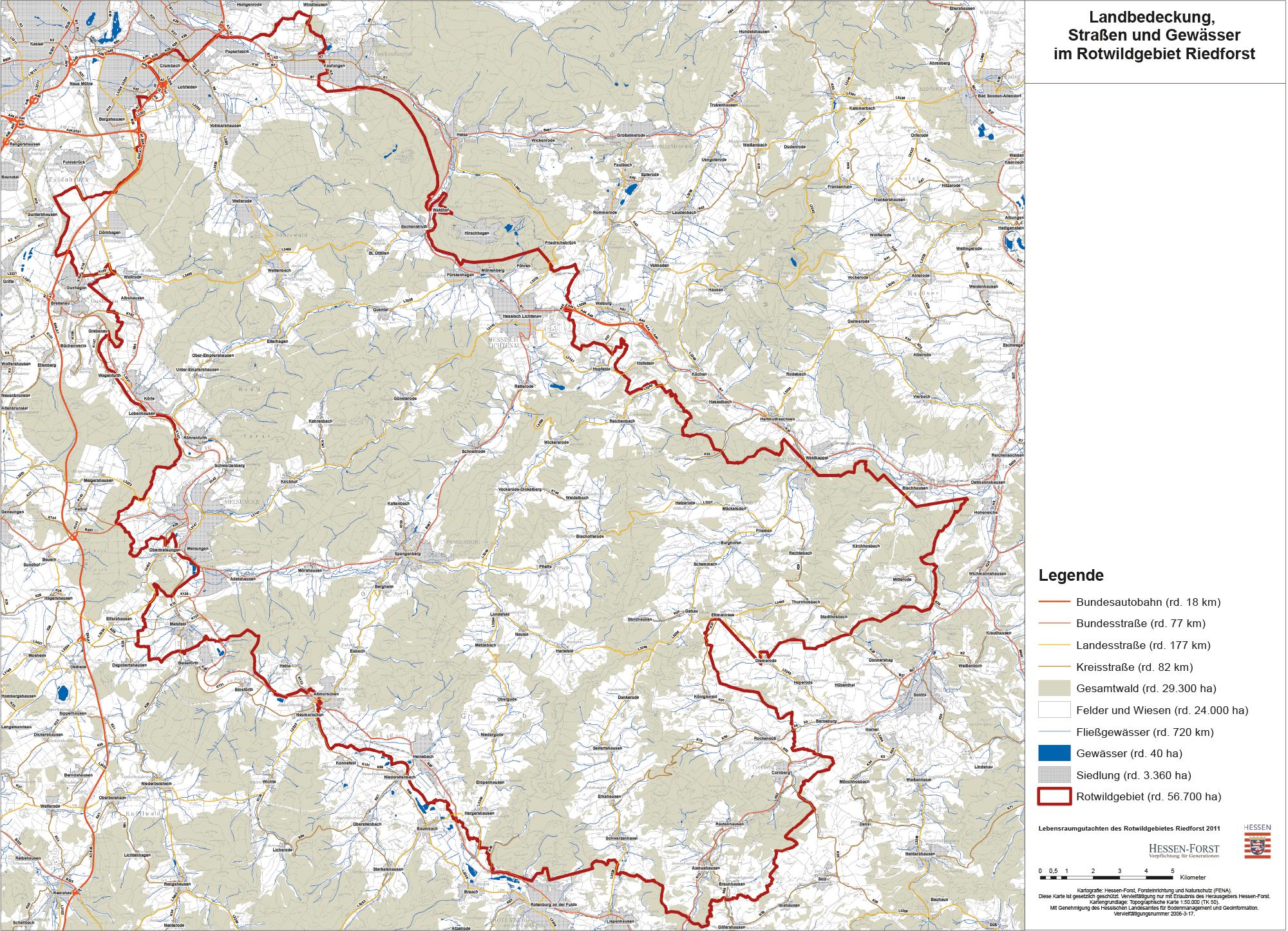 Landbedeckung, Straßen und Gewässer im Rotwildgebiet Riedforst
