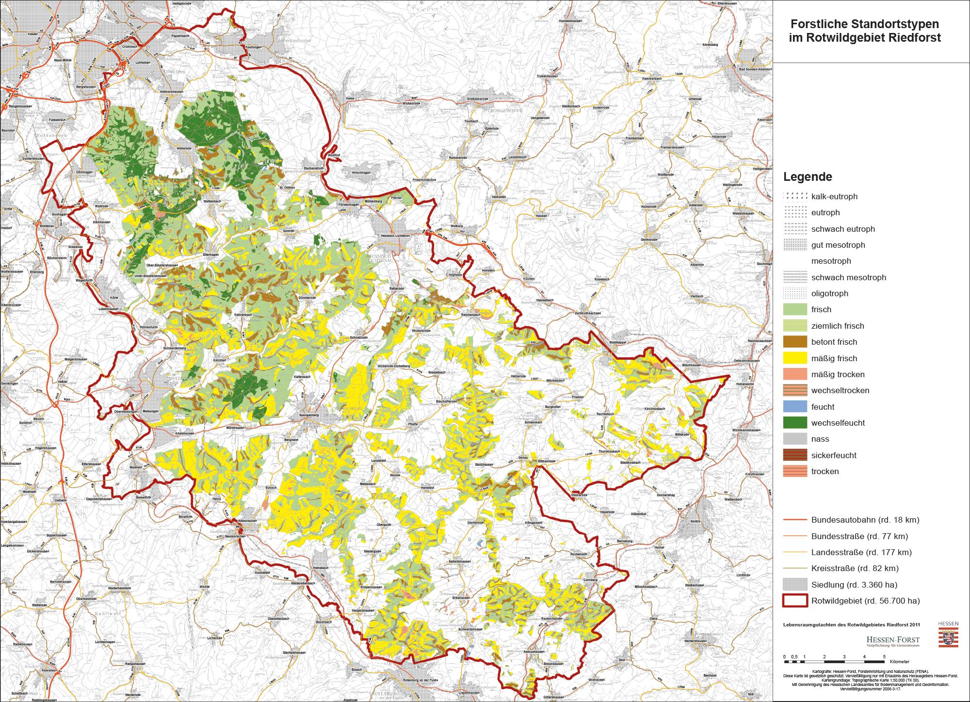 Forstliche Standortstypen im Rotwildgebiet Riedforst