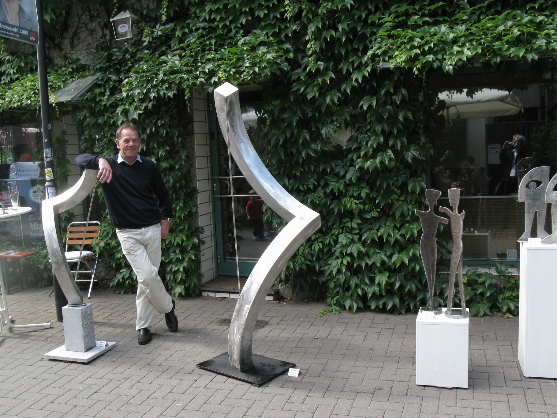 Metallkunst stahl edelstahl kinetic art bronze malerei for Stuhl edelstahl